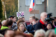 """""""Citizens - Don't let democracy be threatened"""", two lonely protesters during Czech president Milos Zeman's public """"meetings with citizens"""" at the village of Brasy located in the Pilsen Region. Miloš Zeman (born 28 September 1944) is the third and current President of the Czech Republic, in office since 8 March 2013.  He announced his candidacy for the 2018 presidential elections which will be held in the Czech Republic on 12–13 January."""
