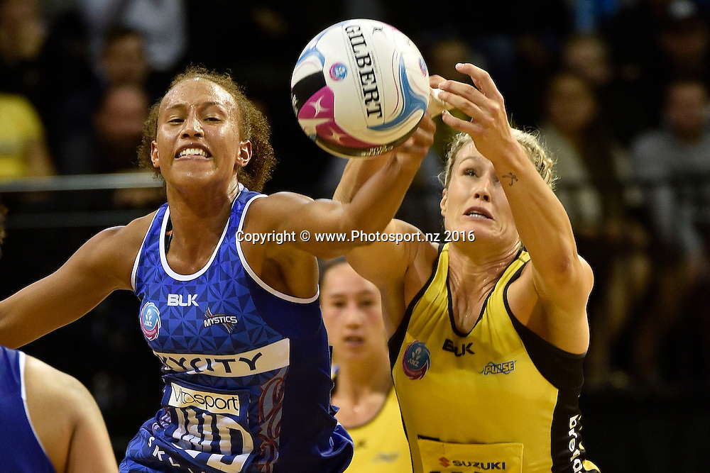 Mystics' Serena Guthrie (L) makes an intercept on Pulse's Chelsea Locke during the ANZ Champs - Pulse v Mystics netball match at TSB Arena in Wellington on Monday the 18 April 2016. Copyright Photo by Marty Melville / www.Photosport.nz
