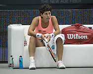 Carla Suarez Navarro (ESP) during the semi finals of the WTA Generali Ladies Linz Open at TipsArena, Linz<br /> Picture by EXPA Pictures/Focus Images Ltd 07814482222<br /> 15/10/2016<br /> *** UK &amp; IRELAND ONLY ***<br /> <br /> EXPA-REI-161015-5008.jpg