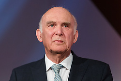 © Licensed to London News Pictures. 26/04/2019. London, UK. Liberal Democrat Leader Vince Cable speaking at the Liberal Democrat party European elections campaign launch held in Tobacco Dock. Liberal Democrat party leader, Vince Cable announced Member of European Parliament (MEP) candidates for the upcoming European Parliament elections that will take place from 23rd to 26th May 2019. Photo credit: Vickie Flores/LNP.