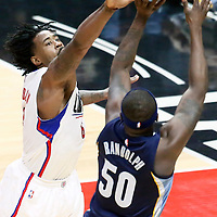 04 January 2017: Memphis Grizzlies forward Zach Randolph (50) takes a jump shot over LA Clippers center DeAndre Jordan (6) during the LA Clippers 115-106 victory over the Memphis Grizzlies, at the Staples Center, Los Angeles, California, USA.