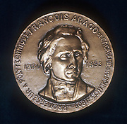 Dominique Francois Jean Arago (1786-1853) French astronomer, physicist and politician. Portrait from obverse of commemorative medal.