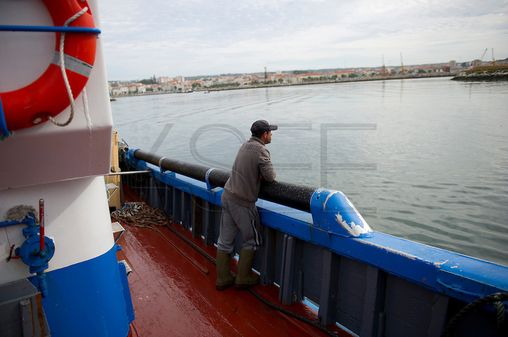 A fisherman look at the port when the boat is going back after the fishing. Sardine means Portugal more than codfish. For the Portuguese people, sardine fish it is not only one of the main national product exported it is tradition; for at least half of the year the Portuguese eat sardine at least once a week, the main dish of the most popular party (party of Saint John) is sardine. The limitation introduced by the European community on the fishing of the bluefish (sardine below to this category) and the economical crisis in Portugal threat this product.