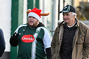 A Plymouth Argyle fan outside Home Park Stadium wearing a Christmas hat before the EFL Sky Bet League 1 match between Plymouth Argyle and Accrington Stanley at Home Park, Plymouth, England on 22 December 2018.