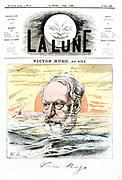Victor Marie Hugo (1802-1885) French poet, dramatist and novelist. From a cartoon by Andre Gill 'La Lune', Paris 19 May 1867, alluding to Hugo's exile in Guernsey.