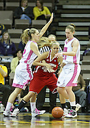 February 16 2011: Iowa Hawkeyes forward Kelsey Cermak (22) and Iowa Hawkeyes forward Kelly Krei (20) tries to steal the ball from Wisconsin Badgers forward/center Cassie Rochel (43) during the first half of an NCAA women's college basketball game at Carver-Hawkeye Arena in Iowa City, Iowa on February 16, 2011. Iowa defeated Wisconsin 59-44.