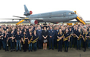 "Koningin Maxima bezoekt muziekproject 'Young Musicians Spread Their Wings'  voor jeugd van Koninklijke Luchtmach op vliegbasis Eindhoven. <br /> <br /> Queen Maxima visits musical project ""Young Musicians Spread Their Wings' youth of Royal Air Mach at Eindhoven Air Base.<br /> <br /> Op de foto / On the photo:  Koningin Maxima poseert met jonge muzikanten poseren voor een DC-10 transportvliegtuig / Queen Maxima poses with young musicians posing for a DC-10 transport aircraft"