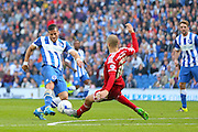 Brighton striker, Tomer Hemed shoots at goal during the Sky Bet Championship match between Brighton and Hove Albion and Cardiff City at the American Express Community Stadium, Brighton and Hove, England on 3 October 2015. Photo by Phil Duncan.
