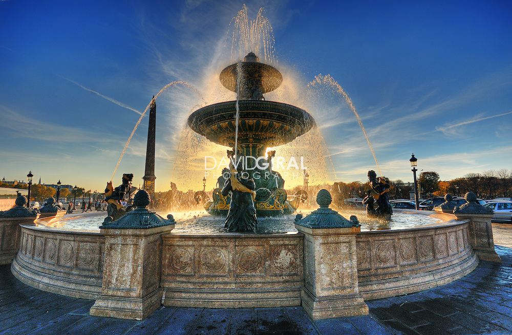 Sunset on Place de la Concorde Fountain, Paris, France