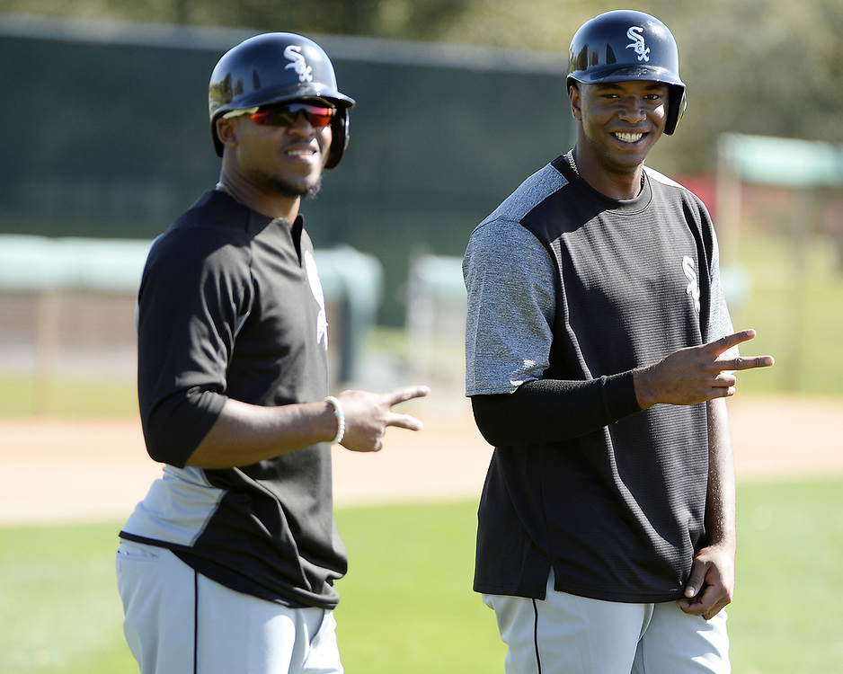GLENDALE, ARIZONA - FEBRUARY 20:  Luis Basabe (L) and Eloy Jimenez of the Chicago White Sox prepare to hit during a spring training workout February 20, 2018 at Camelback Ranch in Glendale Arizona.  (Photo by Ron Vesely)  Subject:   Eloy Jimenez; Luis Basabe