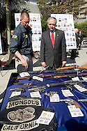 61 members of the Mongols Motorcycle gang, formed in Montebello, CA back in the early 1970's, were arrested by Local and Federal police agencies allowing a three year undercover investigation. Over 20 seized choppers, guns, and vest were on display for the media outside the LAPD headquarters...Authorities have filed papers seeking a court order to prevent Mongol gang members from using or displaying the gang's name and to allow law enforcement officers to stop anyone wearing a Mongols vest and to remove it...The multi-agency investigation included personnel from the U.S. Attorney's Office, the Los Angeles County Sheriff's Department, Montebello Police Department, Las Vegas Metro Police Department and federal Bureau of Alcohol, Tobacco, Firearms and Explosives..   .The investigation involved four male ATF agents -- supported by four female ATF agents -- who infiltrated the gang and were involved in ``some of the most harrowing undercover work'' that U.S. Attorney Thomas P. O'Brien said he had seen..   .Agencies participating in the morning takedown included the California Highway Patrol; United States Marshals Service; Internal Revenue Service; Los Angeles , Whittier, West Covina, Glendale, Bell Gardens, Irwindale, Baldwin Park and Pomona police departments; Los Angeles County Department of Children and Family Services; and the sheriff's departments of Riverside, San Bernardino and Ventura counties.