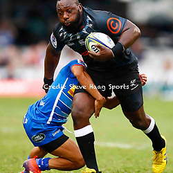 Herschel Jantjies of the DHL Stormers tackling Tendai Beast Mtawarira of the Cell C Sharks during the Super Rugby match between Cell C Sharks and DHL Stormers at Jonsson Kings Park on March 02, 2019 in Durban, South Africa. (Photo by Steve Haag)