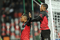 Fotball<br /> Frankrike<br /> Foto: Panoramic/Digitalsport<br /> NORWAY ONLY<br /> <br /> joie Christophe Mandanne apres son but - Claudio Beauvue (Guingamp)