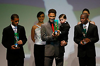 "20091207: RIO DE JANEIRO, BRAZIL - Brazilian Football Awards 2009 (""Craque Brasileirao 2009""), held at the Museum of Modern Art in Rio de Janeiro. In picture: L-R - Pierre (Palmeiras, 2nd), Hernanes (Sao Paulo) - Best central midfielder- right side, Willians (flamengo, 3rd). PHOTO: CITYFILES"