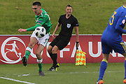 Oisin Mcentee of Republic of Ireland (4) crosses the ball during the UEFA European Under 17 Championship 2018 match between Bosnia and Republic of Ireland at Stadion Bilino Polje, Zenica, Bosnia and Herzegovina on 11 May 2018. Picture by Mick Haynes.