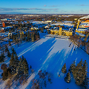Aerial view of Johnston Green in winter. Photo by Mido Melebari