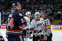 KELOWNA, CANADA - MARCH 25: Ryan Rehill #24 of Kamloops Blazers trash talks Tyson Baillie #24 of Kelowna Rockets on March 25, 2016 at Prospera Place in Kelowna, British Columbia, Canada.  (Photo by Marissa Baecker/Shoot the Breeze)  *** Local Caption *** Ryan Rehill; Tyson Baillie;