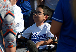 "June 24, 2017 - Los Angeles, California, U.S. - Lazaro Ã'ZiggyÃ"" Monarrez of the Make a Wish Foundation who is the co-manager of the game prior to a Major League baseball game between the Colorado Rockies and the Los Angeles Dodgers at Dodger Stadium on Saturday, June 24, 2017 in Los Angeles. Los Angeles. (Photo by Keith Birmingham, Pasadena Star-News/SCNG) (Credit Image: © San Gabriel Valley Tribune via ZUMA Wire)"