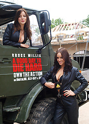 Launch of 'A Good Day To Die'.<br /> British actress Kacey Barnfield, top, and glamour model Rosie Jones at the launch in Oxshott of the DVD HD of the Bruce Willis film 'A Good Day To Die',<br /> London, United Kingdom<br /> Monday, 10th June 2013<br /> Picture by Max Nash / i-Images
