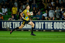 March 30, 2018 - Melbourne, VIC, U.S. - MELBOURNE, AUSTRALIA - MARCH 30 : Beauden Barrett of the Wellington Hurricanes  runs with the ball during Round 7 of the Super Rugby Series between the Melbourne Rebels and the Wellington Hurricanes on March 30, 2018, at AAMI Park in Melbourne, Australia. (Photo by Jason Heidrich/Icon Sportswire) (Credit Image: © Jason Heidrich/Icon SMI via ZUMA Press)