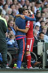 Kike of Middlesbrough celebrates his goal with the backroom staff  - Mandatory byline: Dougie Allward/JMP - 07966386802 - 18/08/2015 - FOOTBALL - iPro Stadium -Derby,England - Derby County v Middlesbrough - Sky Bet Championship