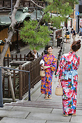 Matsuyama, September 3 2015 - Dogo Onsen, Japan's oldest hot spring, celebrate the 120th anniversary in 2014 by creating an art festival. The artist invited in 2015 is Japanese photographer Mika NINAGAWA.<br /> Girls wearing rental kimonos designed by MIka NINAGAWA.
