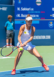 August 5, 2018 - San Jose, CA, U.S. - SAN JOSE, CA - AUGUST 05: Mihaela Buzarnescu (ROU) connects with a back hand return during the WTA Singles Championship at the Mubadala Silicon Valley Classic  at the San Jose State University Stadium Court in San Jose, CA  on Sunday, August 5, 2018. (Photo by Douglas Stringer/Icon Sportswire) (Credit Image: © Douglas Stringer/Icon SMI via ZUMA Press)