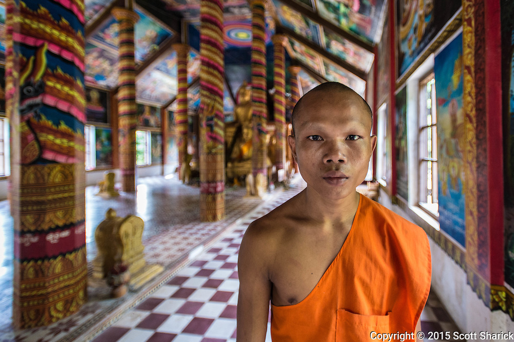 A lone monk at the remote Chaw Srei Vibol Temple near Siem Reap, Cambodia.