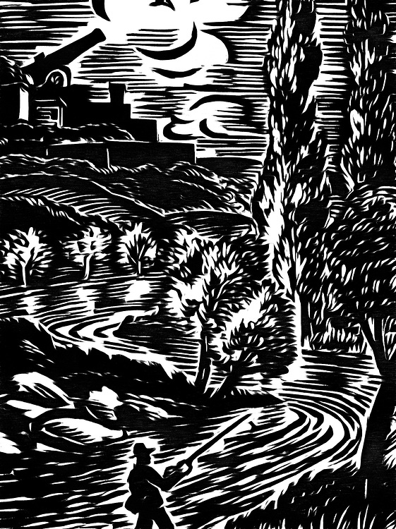 A black / white drawing of a man fishing in the river