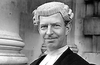 James Edward Holroyd Pearce, barrister, English Bar, photographed November 1974 on the occasion of him being called to the N Ireland Bar. 197411000633<br /> <br /> Copyright Image from Victor Patterson, 54 Dorchester Park, Belfast, UK, BT9 6RJ<br /> <br /> t1: +44 28 9066 1296 (from Rep of Ireland 048 9066 1296)<br /> t2: +44 28 9002 2446 (from Rep of Ireland 048 9002 2446)<br /> m: +44 7802 353836<br /> <br /> e1: victorpatterson@me.com<br /> e2: victorpatterson@gmail.com<br /> <br /> The use of my copyright images is subject to my Terms & Conditions.<br /> <br /> It is IMPORTANT that you familiarise yourself with them. They are available on my website at www.victorpatterson.com.<br /> <br /> None of my copyright images may be used on a website unless they are visibly watermarked, i.e. © Victor Patterson within the body of the visible image. Metadata denoting my copyright must NOT be deleted. <br /> <br /> Web use is extra at currently recommended NUJ rates.