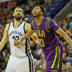 Feb 1, 2016; New Orleans, LA, USA; New Orleans Pelicans forward Anthony Davis (23) and Memphis Grizzlies center Marc Gasol (33) during the second quarter of a game at the Smoothie King Center. Mandatory Credit: Derick E. Hingle-USA TODAY Sports