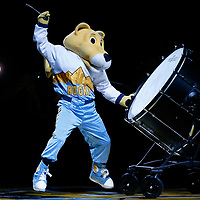 01 April 2018: Rocky The Mountain Lion performs during the Denver Nuggets 128-125 victory over the Milwaukee Bucks, at the Pepsi Center, Denver, Colorado, USA.
