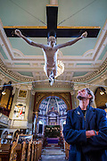 For Pete's Sake - A life-size statue of Doherty being crucified unveiled at London's St.Marylebone Parish Church as part of a temporary exhibition Stations of the Cross. It is on sale for £33k and was originally made in 2008 as collaboration between Pete Doherty and the artist Nick Reynolds. This is the first time the sculpture has been seen in public and it appears in the middle of the historic 200 year old church alongside other works that reference the Passion of Christ by artists including Paul Benney, Nasser Azam, Angelica Cayzer, Wolfe Lenkiewicz and Charlie Mackesy. Guy Bell, 07771 786236, guy@gbphotos.com