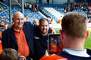 John Still , Manager of Luton Town (left) poses with fans for photographs ahead of the Skrill Conference Premier match at Kenilworth Road, Luton<br /> Picture by David Horn/Focus Images Ltd +44 7545 970036<br /> 21/04/2014