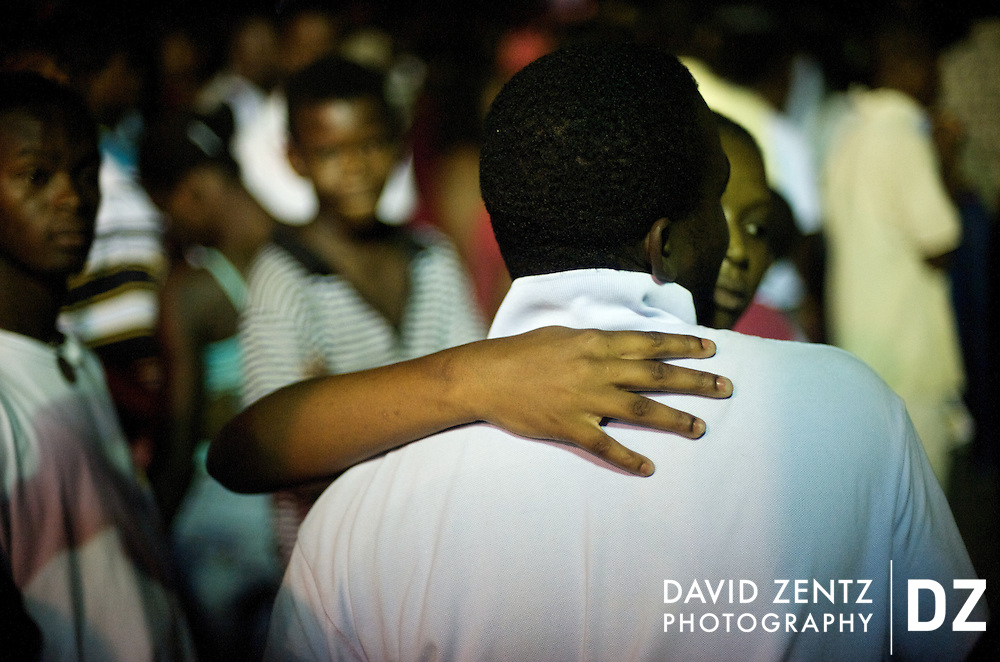 A couple dances at a ti sourit, an all-night block party, in Port-au-Prince, Haiti on July 13, 2008.