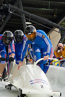 The Russian team of Alexsandr Zubkov, Philipp Egorov, Petr Moiseev, and Alexey Andryunin compete in the Mens' four-person bobsleigh World Cup competition held at the Whistler Sliding Centre on Feb 7, 2009