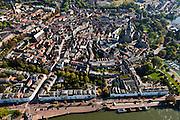 """Nederland, Gelderland, Zurphen, 03-10-2010; overzicht van de binnenstad met Walburgiskerk met Librije gezien vanaf de IJssel, IJsselkade in de voorgrond..Overview of the town with St. Walburgis (Saint Walpurga) church, and its chapter-house (""""Librije""""), seen from the river IJssel..luchtfoto (toeslag), aerial photo (additional fee required).foto/photo Siebe Swart"""