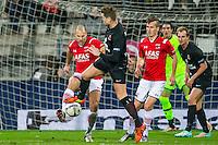 ALKMAAR - 02-02-2016, AZ - HHC, AFAS Stadion, 1-0, AZ speler Ron Vlaar, HHC speler Mark Veldmate, AZ speler Stijn Wuytens