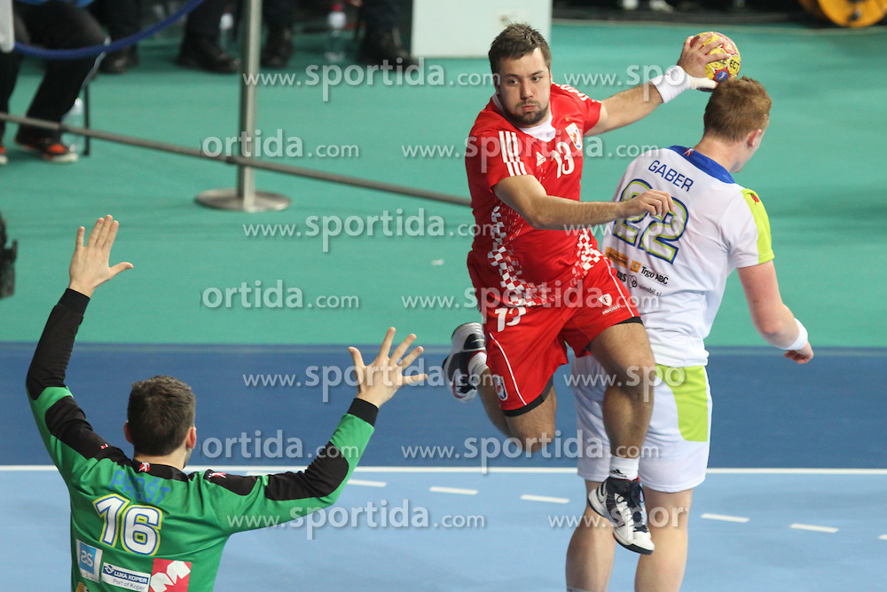 25.01.2013 Barcelona, Spain. IHF men's world championship, 3º/4º place. Picture show Zlatko Horvat in action during game between Slovenia vs Croatia at Palau St. Jordi