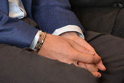 Detail of bracelets worn by Prince Harry as he attends the True Patriot Love Symposium at the Scotia Plaza in Toronto, Canada.