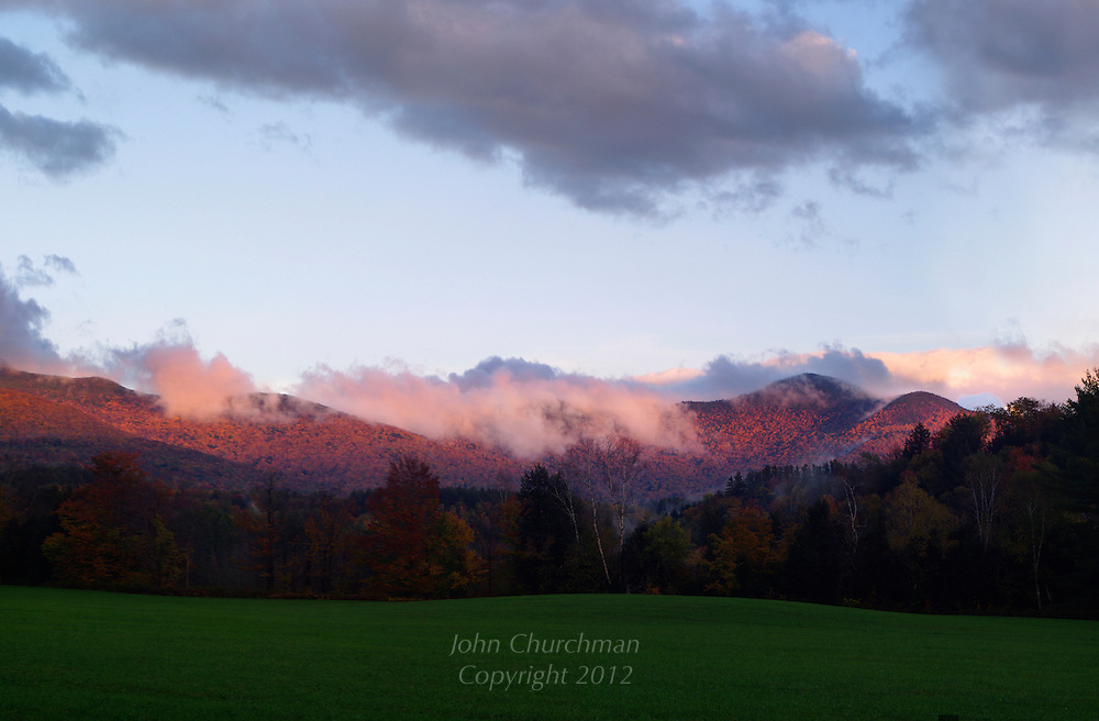 Fall, Mt Mansfield, Underhill, Vermont, snow, autumn, sunset