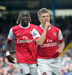 BLACKBURN, ENGLAND - Saturday, August 28, 2010: Arsenal's Andrei Arshavin celebrates scoring the second goal against Blackburn Rovers during the Premiership match at Ewood Park. (Pic by: David Rawcliffe/Propaganda)