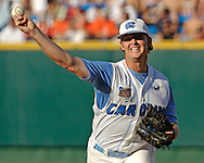 .North Carolina starting pitcher Robert Woodard pitched a complete game, three hit shut out against Clemson.  The North Carolina Tar Heels defeated Clemson 2-0 at the College World Series at Rosenblatt Stadium in Omaha, Nebraska, June 18, 2006.