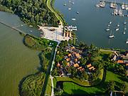 Nederland, Noord-Holland, Enkhuizen, 26-08-2019; Zuiderzeemuseum, cultuurhistorisch museum over maritieme geschiedenis van de voormalige Zuiderzee. Buitenmuseum met onder andere kalkovens. achten in de Compagnieshaven, jachthaven.<br /> Cultural history museum on maritime history of the former Zuyder Zee.<br /> luchtfoto (toeslag op standard tarieven);<br /> aerial photo (additional fee required);<br /> copyright foto/photo Siebe Swart