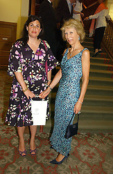 Left to right, The HON.KIRSTIE ALLSOPP and LADY HINDLIP at a private view of the forthcoming sale 'Property from the collection of HRH The Princess Margaret, Countess of Snowdon' and a private view of art by Marina Karella Princess Michael of Greece, held at Christie's, 8 King Street, London SW1 on 12th June 2006.<br />