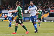 Bury Midfielder, Tom Soares (19) misses during the EFL Sky Bet League 1 match between Bury and Scunthorpe United at the JD Stadium, Bury, England on 1 October 2016. Photo by Mark Pollitt.