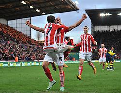 Stoke's Bojan Krkic celebrates his goal with Stoke's Jonathan Walters who scores later in the game - Photo mandatory by-line: Dougie Allward/JMP - Mobile: 07966 386802 - 06/12/2014 - SPORT - Football - Stoke - Britannia Stadium - Stoke City v Arsenal - Barclays Premie League