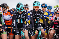 A minutes silence for the victims of yesterday's terrorist attacks in Brussels - Dwars door Vlaanderen 2016, a 103km road race from Tielt to Waregem, on March 23rd, 2016 in Flanders, Netherlands.