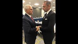November 20, 2018 - Miami, FL, USA - El magnate venezolano de los medios Raúl GorrÍn saluda al vicepresidente Mike Pence el año pasado. (Credit Image: © Miami Herald/TNS via ZUMA Wire)