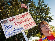 19 MAY 2011 - PHOENIX, AZ: Rebecca Mahan (CQ) from Tempe, cheers for John Kavanagh in Paradise Valley Park in Phoenix Thursday evening. About 100 people attended the rally, which was to support some of the state's most conservative politicians including Joe Arpaio, Russell Pearce and John Kavanagh. The rally was sponsored by the Maricopa County Republican Party and a Tea Party group.        PHOTO BY JACK KURTZ